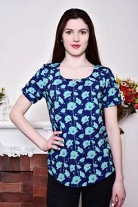 Блуза синяя с цветочным принтом Р8803