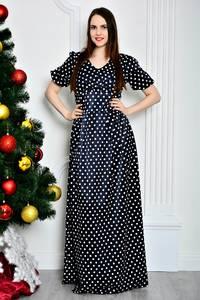 Платье длинное нарядное в горошек П7119