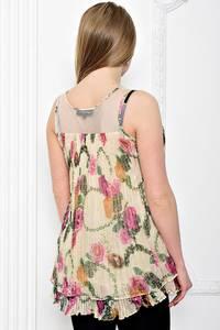Блуза летняя с цветочным принтом без рукавов С7206