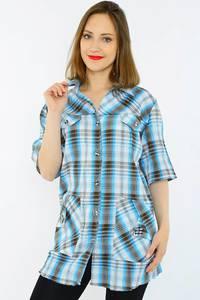 Рубашка в клетку с коротким рукавом Н1499