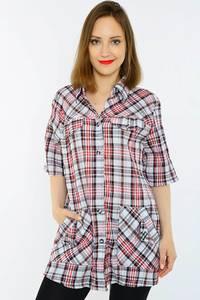 Рубашка удлиненная в клетку с коротким рукавом Н1500