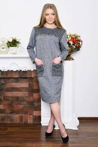 Платье длинное с принтом зимнее Р5212