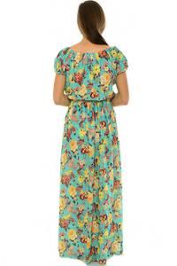 Платье длинное с принтом зеленое Н3935