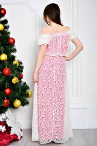 Платье длинное нарядное с открытыми плечами П7120