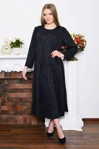Платье длинное зимнее черное Р5213