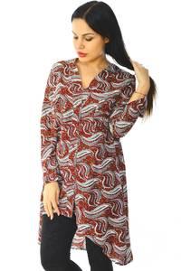 Рубашка-туника с принтом прозрачная с длинным рукавом Н5944