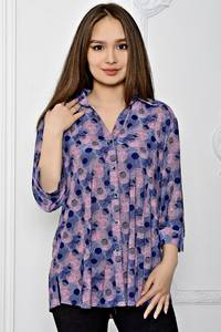 Рубашка синяя с принтом Т0671