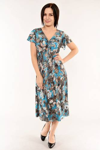 Платье длинное с коротким рукавом летнее И6145