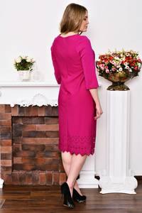 Платье длинное деловое красное Р3522
