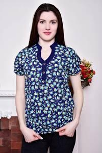 Блуза синяя с цветочным принтом Р8810