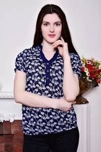Блуза синяя с цветочным принтом Р8811
