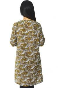 Рубашка-туника с принтом прозрачная с длинным рукавом Н5946
