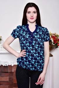 Блуза синяя с цветочным принтом Р8812