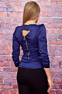 Блуза с бантом синяя Т4490