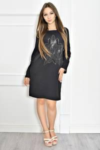 Платье короткое черное современное Т6718