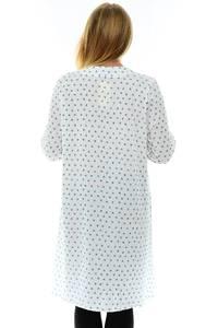 Рубашка белая с длинным рукавом с принтом П1214