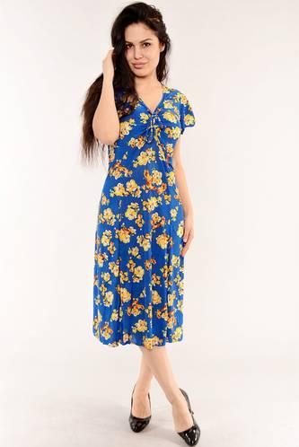 Платье длинное с коротким рукавом синее И6149