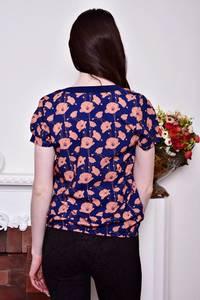 Блуза синяя с цветочным принтом Р8813
