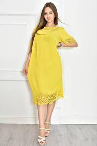 Платье короткое желтое с кружевом Т6719