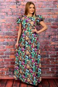 Платье длинное нарядное с принтом П6049