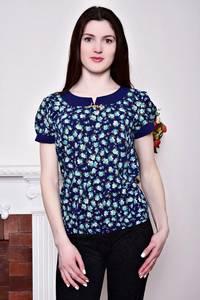 Блуза синяя с цветочным принтом Р8815