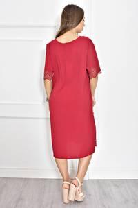 Платье короткое красное с кружевом Т6720