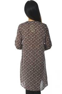 Рубашка-туника с принтом прозрачная с длинным рукавом Н5950
