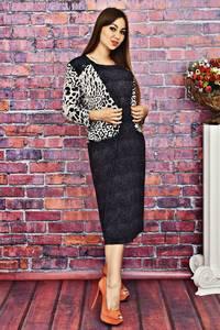 Платье длинное черное с принтом Т4147