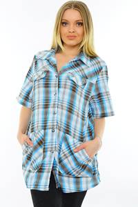 Рубашка синяя в клетку М9588
