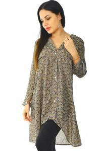 Рубашка-туника с принтом прозрачная с длинным рукавом Н5951