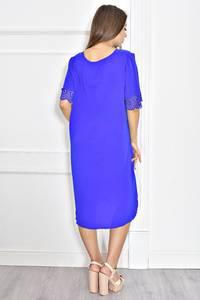 Платье короткое синее с кружевом Т6721