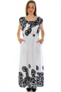 Платье длинное с принтом белое Н3943