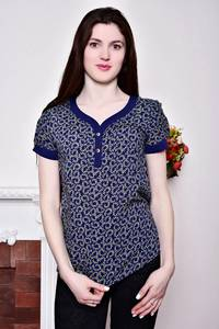Блуза синяя с коротким рукавом Р8817