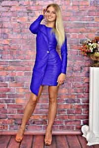 Платье короткое элегантное синее Т5928
