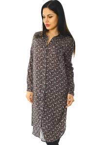 Рубашка-туника с принтом прозрачная с длинным рукавом Н5953