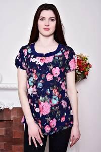 Блуза синяя с цветочным принтом Р8818