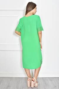Платье короткое зеленое с кружевом Т6723