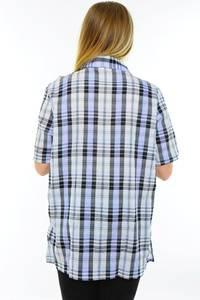 Рубашка удлиненная в клетку с коротким рукавом М9590