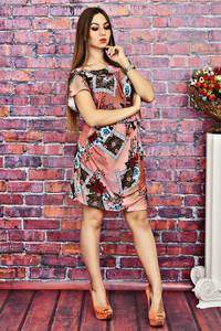 Платье короткое с принтом летнее Т4150