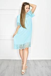Платье короткое голубое с кружевом Т6724