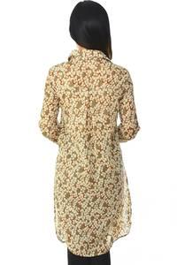 Рубашка-туника с принтом прозрачная с длинным рукавом Н5955