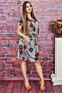 Платье короткое с принтом летнее Т4152
