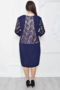 Платье длинное с принтом синее П9725