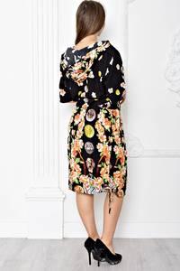 Платье короткое черное с принтом Т1863