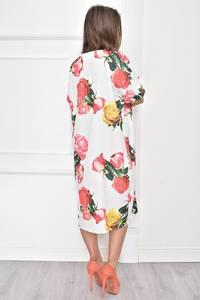 Платье короткое белое с принтом Т7485