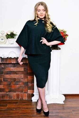 Костюм модный c юбкой черный Р7610