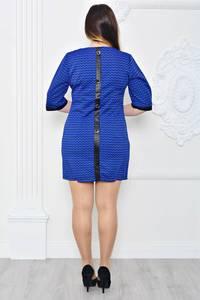 Платье-туника короткое синее однотонное П9726