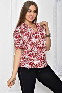 Рубашка красная с принтом с коротким рукавом Т2455