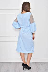 Платье короткое нарядное с кружевом Т8984