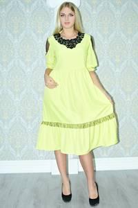 Платье длинное вечернее желтое Р9815